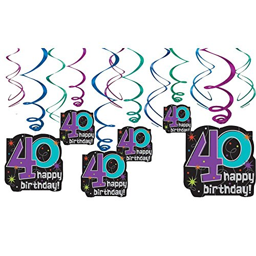 Amscan Printed The No. 40 Cheery Swirl Decors, Black/Purple/Blue/Silver