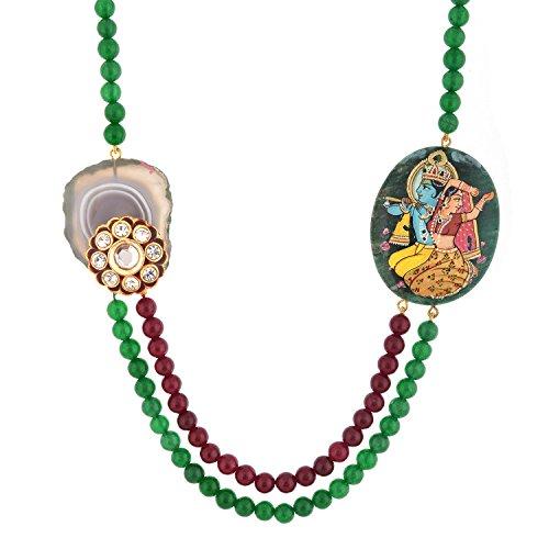 Red Manirathnum Red,Green Semi Precious Stones, Kundan Brooch, Temple Painting Necklace With Kundan Brooch 69.00 Grams For Women (Multicolor)