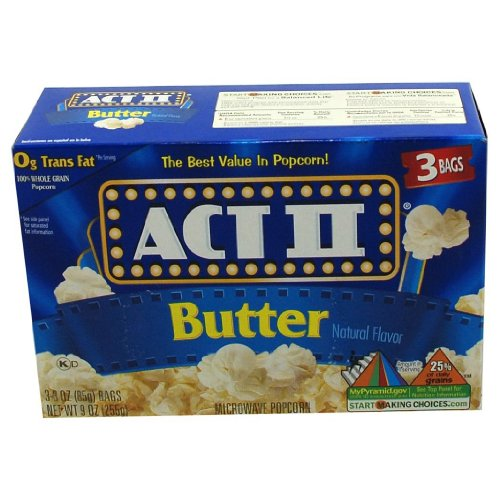 Act Ii Butter Natural Flavor Popcorn 4 Boxes Of 3 (12 Bags Total)