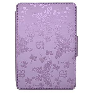 Butterfly Leder Schutzhülle Tasche Etui Lederhülle Ruhemodus für Amazon Kindle Paperwhite 3G WIFI - Lila