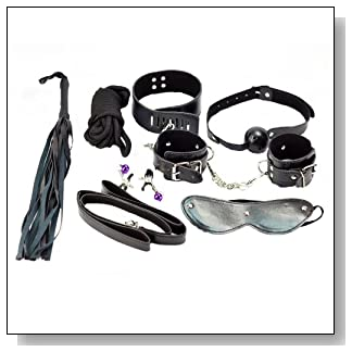 Top Sex Tools SM 7 Pieces Set Whip, Rope, Mouth Stuffed, Nipple Clamps , Mask, Handcuffs, Cuffs Under the Bed Restraint System