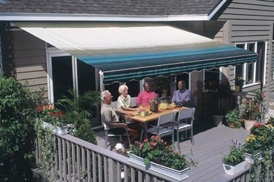 Sunsetter Retractable Awning - Motorized Pro - 16ft. (Blue) (16' wide x 10' extension)