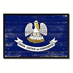 Louisiana State Shabby Chic Flag Art Canvas Print Custom Picture Frame Office Wall Home Decor Gift Ideas, 19\