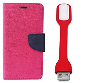 Novo Style Wallet Case Cover For Micromax Unite 3 Q372 Pink + Mini USB LED Light Adjust Angle / bendable Portable Flexible USB Light