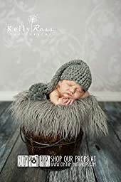 Pewter Gray Chunky Newborn Elf Hat Photography Prop, Baby Props, Newborn Prop, Photo Props, Handmade Hat, Pom Pom Hat, Boy Hat