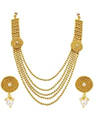 Sukkhi Classic Five String Gold Plated Necklace Set For Women