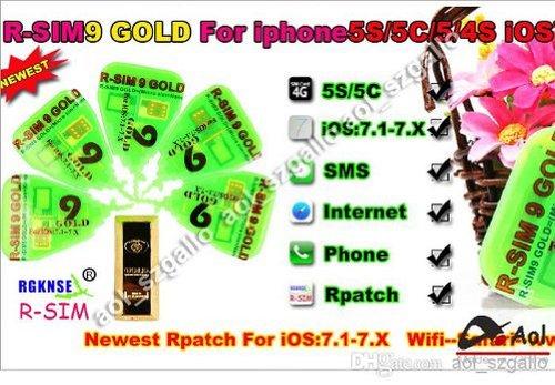 R-SIM 9 GOLD 5/5C/5S iOS:7.1-7.X SIMロック解除アダプタ