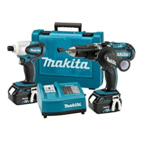 Makita LXT202 18-Volt Hammer Drill & Impact Driver Lithium-Ion Combo Kit