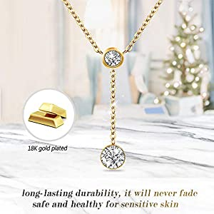 Lolalet 18K Gold/Rose Gold Plated Necklace, Cubic Zirconia Simulated Diamond Bezel-Set Pendant Choker Necklace Jewelry Gift for Women Girls Kids