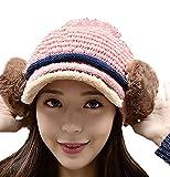 (激情女郎)JIQINGNVLANG レディース ポンポン 耳あて ツバ付き 帽子 ニットキャップ ニット帽 ピンク