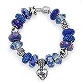 Bling Jewelry 925 Silver Grandma Dangle Heart Bead Bracelet