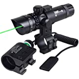 2 Mounts Switch Tactical Power 532nm Green Dot Adjustable Laser Sight Scope w/