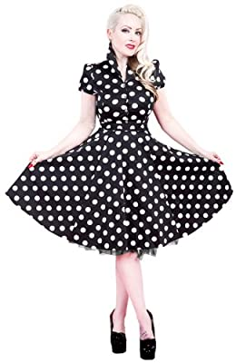 H&R London Women's Polka Dot 50's Swing Dress