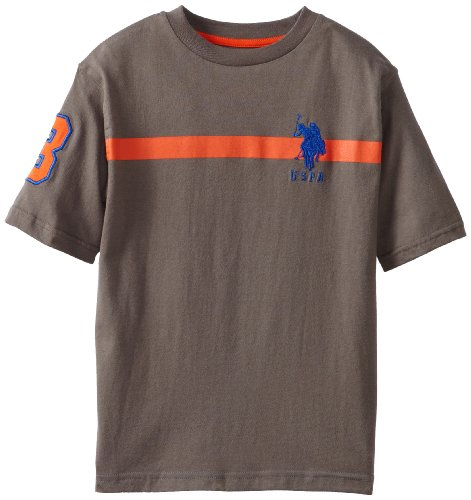U.S. Polo Assn. Big Boys' Short Sleeve T-Shirt, Charcoal, 14/16