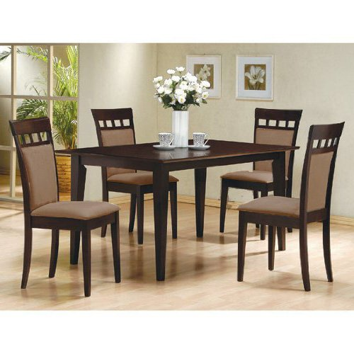 What is the cost of 5 pc espresso brown 4 person table for 4 person dining table set