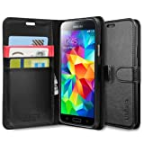 Spigen® [Stand Feature] Samsung Galaxy S5 Case Wallet [Wallet S] [Black] Premium Wallet Case with STAND Flip Cover for Galaxy S5 / Galaxy SV / Galaxy S V (2014) - ECO-Friendly Packaging - Black (SGP10818)