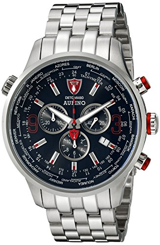 Detomaso Aurino Men's Quartz Watch with Black Dial Chronograph Display and Silver Stainless Steel Bracelet DT1061-E