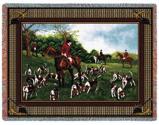 Fox Hunt Hunting Dogs Horse Cotton Tapestry Throw Blanket