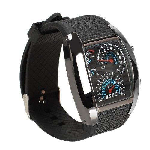 Shot-In Creative Led Watch Sector Sports Car Meter Dial Men Wrist Watch (Cool Black)