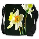 Daffodil Or Narcissus Flowers Small Black Canvas Shoulder Bag / Handbag