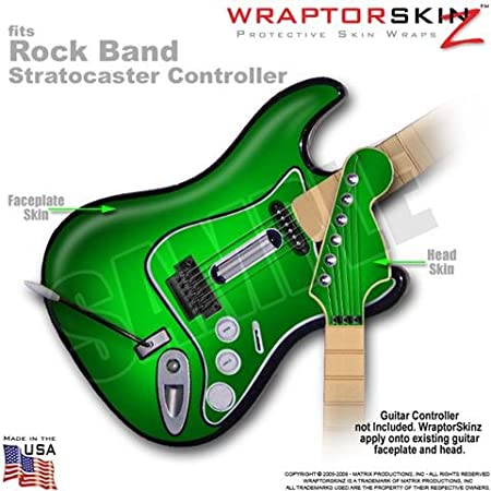 Colorburst Green WraptorSkinz Skin fits Rock Band Stratocaster Guitar for Nintendo Wii, XBOX 360, PS2 & PS3 (GUITAR NOT INCLUDED)