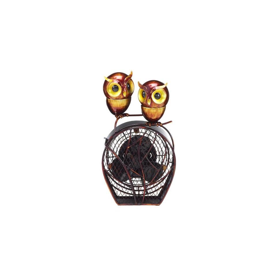 Deco Breeze Figurine Fan with Magnet Top, Owls