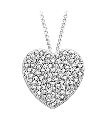 Carissima 9ct White Gold 0.20ct Diamond Heart Slider Pendant on Chain Necklace 46cm/18""