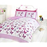 Pink Butterfly Duvet Cover Quilt Bedding Set - Pink & White - Single Size - Bedroom Bed Linen