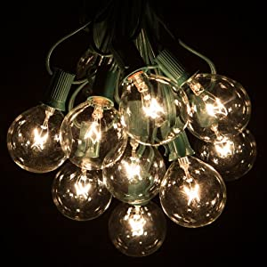Amazon.com: 100 Foot G50 Patio Globe String Lights with Clear Bulbs for Outdoor String Lighting ...
