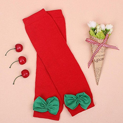 Yoyorule Christmas Kids Girl Knitted Boot Cuffs Toppers Leg Warmer Socks (Red)