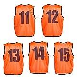 【MAYKA】色落しにくいビブスオレンジ11~15番5枚セット前後番号袋付 MBW201 …