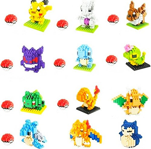Pokemon Monster Building Games 12 Set 2500 pcs Figures Micro Nano Blocks Play Pokeball Nanoblocks Collection