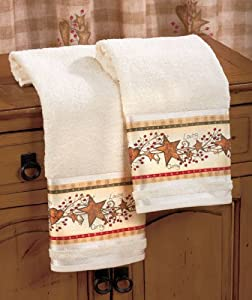 Country Hearts And Stars Berries Bathroom Bath Linen Decor Other