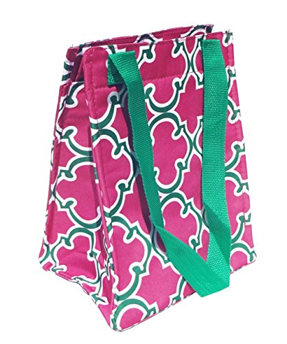 Best Affordable Pink Green Quatrefoil Thermal Lunch Box Purse School Supplies Unique Popular Top Sister Mom TravelNut Unique Birthday Stocking Stuffer Christmas Gift Idea Women (Walking Dead Cooler Bag compare prices)