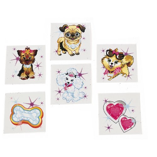 Fashion Puppy Tattoos - Novelty Jewelry & Temporary Tattoos by Fun Express - 1