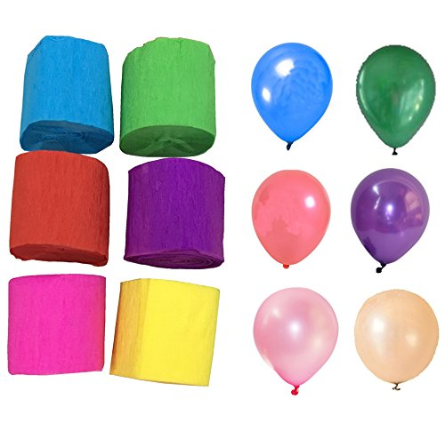 Deryun Party Streamer Crepe Paper Streamers Assorted Colors,1.77 Inch x 29.6 Feet (6 Rolls) and 12 Inches Assorted Color Party Balloons (6 Pcs) (Party Decorations Crepe Paper compare prices)