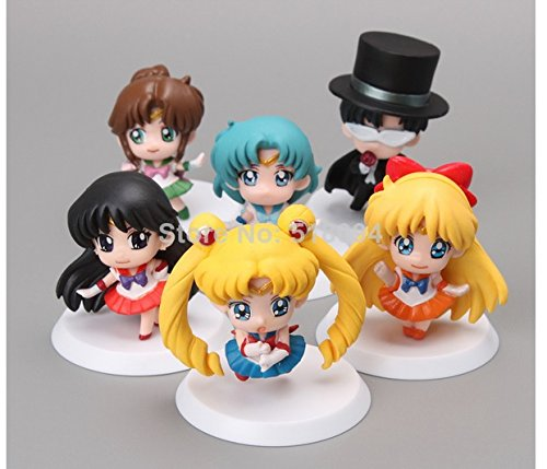 6pc set Anime Cartoon Sailor Moon Mars Jupiter Venus Mercury Q Version PVC Action Figure Model Toys Dolls