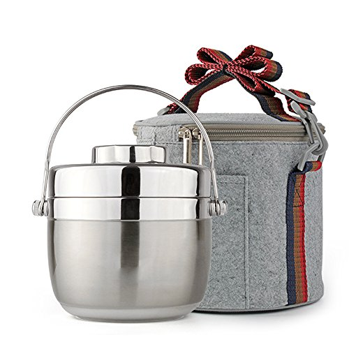 Fatmingo Stainless Steel Thermal Food Container,Insulated Lunch Box 2 Tier with Hand Bag (1.5L Silver) (Insulated Containers For Food compare prices)