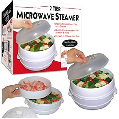 2 Tier Microwaveble Steamer Healthy Cooking Quick Fast Vegetables