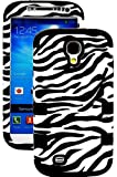 "myLife (TM) Black - Zebra Stripes Print Design (3 Piece Hybrid) Hard and Soft Case for the Samsung Galaxy S4 ""Fits Models: I9500 I9505 SPH-L720 Galaxy S IV SGH-I337 SCH-I545 SGH-M919 SCH-R970 and Galaxy S4 LTE-A Touch Phone"" (Fitted Front and Back Solid Cover Case + Internal Silicone Gel Rubberized Tough Armor Skin)"