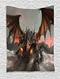 Ambesonne Fantasy World Decor Collection, Illustration of Three Headed Fire Breathing Dragon Large Monster Gothic Theme, Bedroom Living Room Dorm Wall Hanging Tapestry, 40 X 60 Inches, Brown Grey