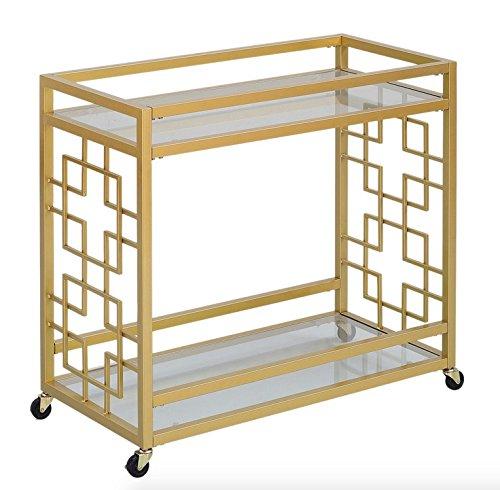 Retro Gold Tone Bar Cart Metal Serving Tray Table Coffee 2-Shelf Glass Kitchen Sofa Side Hall Entry 3