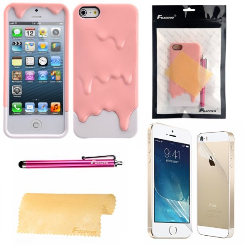 Foxnovo 4-in-1 Detachable 3D Melting Ice Cream Hard Back Case Cover Set for iPhone 5S /iPhone 5 (Pink+White) (Iphone 4 Case Melting Ice Cream compare prices)