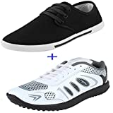 Super COMBO Pack Of 2 Pair Men/Boys White Sports Shoes With Casual Shoes