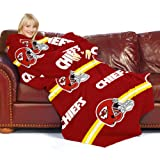 NFL Kansas City Chiefs Comfy Throw Blanket with Sleeves, Stripes Design at Amazon.com