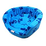 Super Dog Dog Bed Smart And Cozy In Blue Color With Dark Blue Paws Design (Small)