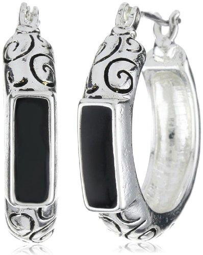 Napier Silver-Tone Textured Hoop Earrings