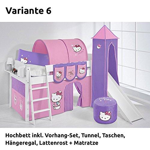 Hochbett Spielbett IDA Hello Kitty Lila, mit Turm, Rutsche und Vorhang, weiß, Variante 6