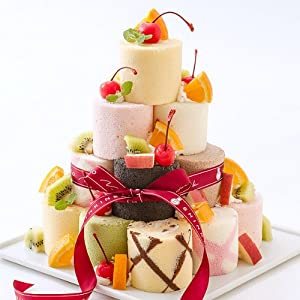 新杵堂 9種のミニロールを自己流アレンジで楽しむロールケーキタワー 9個 [ 誕生日ケーキ・バースデーケーキ ]