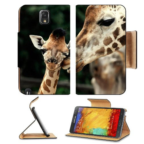 Giraffe Wildlife Animal Baby Mammal Nature African Samsung Galaxy Note 3 N9000 Flip Case Stand Magnetic Cover Open Ports Customized Made To Order Support Ready Premium Deluxe Pu Leather 5 15/16 Inch (150Mm) X 3 1/2 Inch (89Mm) X 9/16 Inch (14Mm) Liil Note front-787933